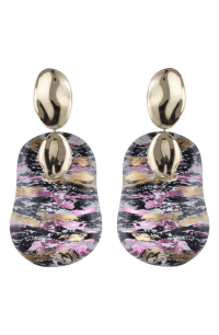 Alexis Bittar Gold Disk Liquid Lucite Earrings In Glitch ...