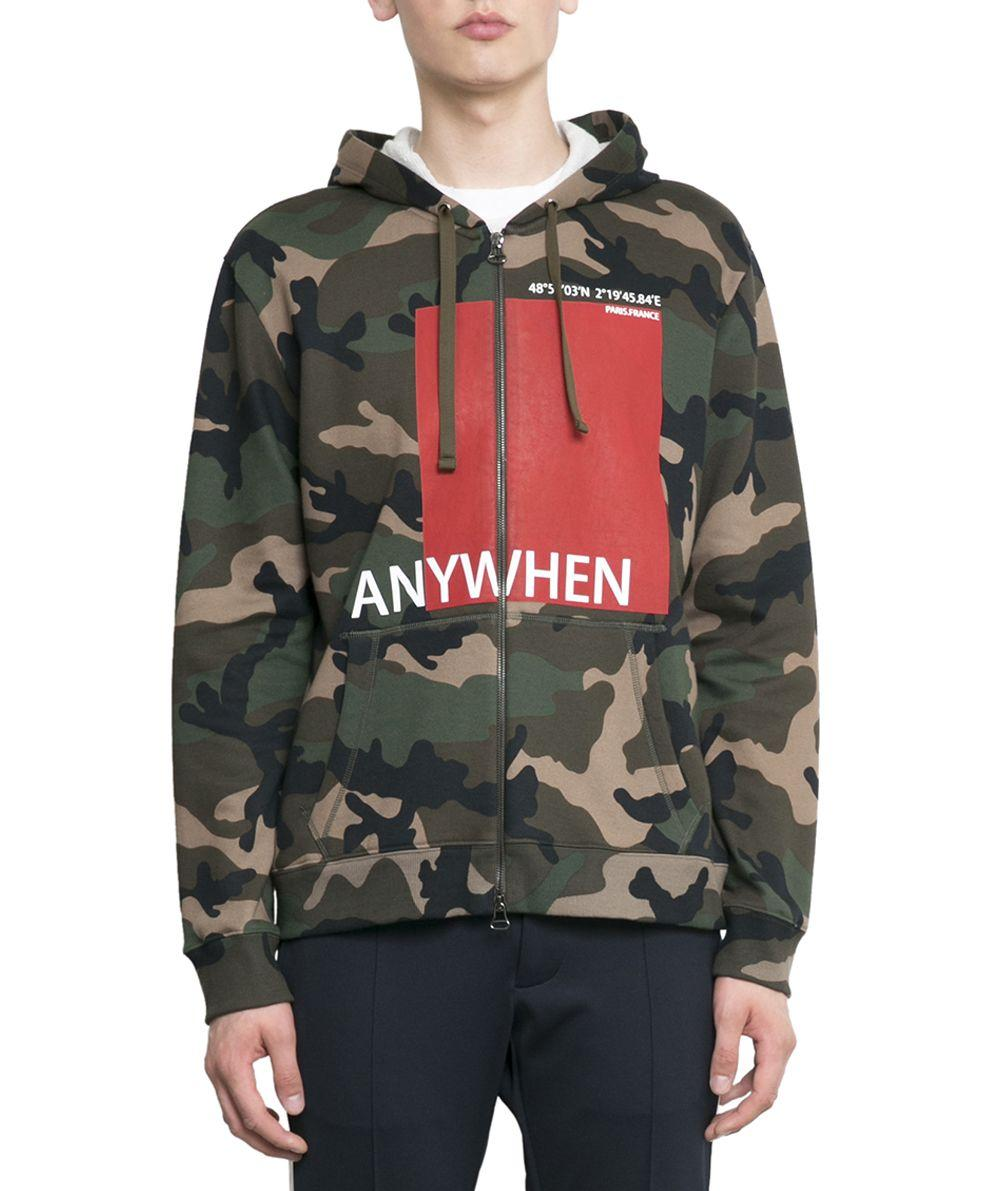 Camo Hoodie Friends Valentino Anywhen Camouflage Cotton Hoodie In Verde Modesens