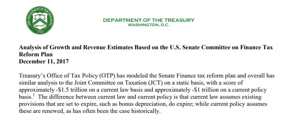 Treasury produces one page memo to justify claim that Trump tax cut