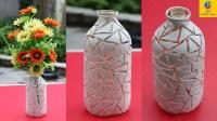 How to make flower vase with glass bottle || glass bottle ...