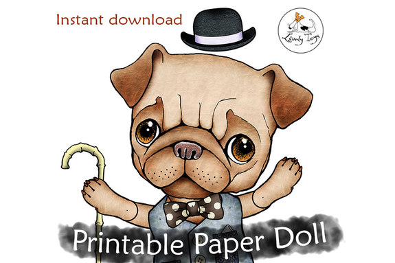 Articulated printable Cut out jointed paper doll pattern Pug lover
