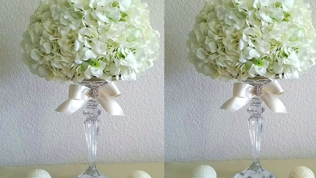 Diy Elegant Hydrangeas Flower Ball With Crystal Candle
