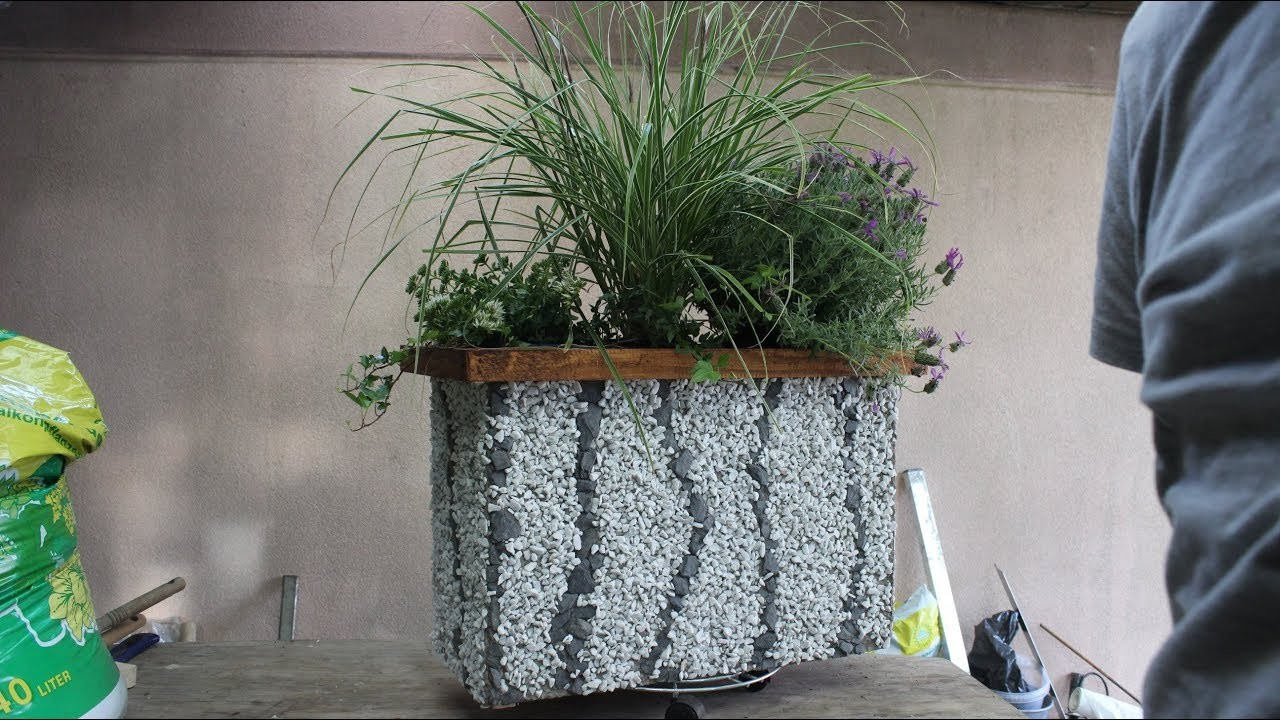 Diy Xl Blumenkasten Mit Steinen Dekoriert Flower Box With Stones Decorated Saksi