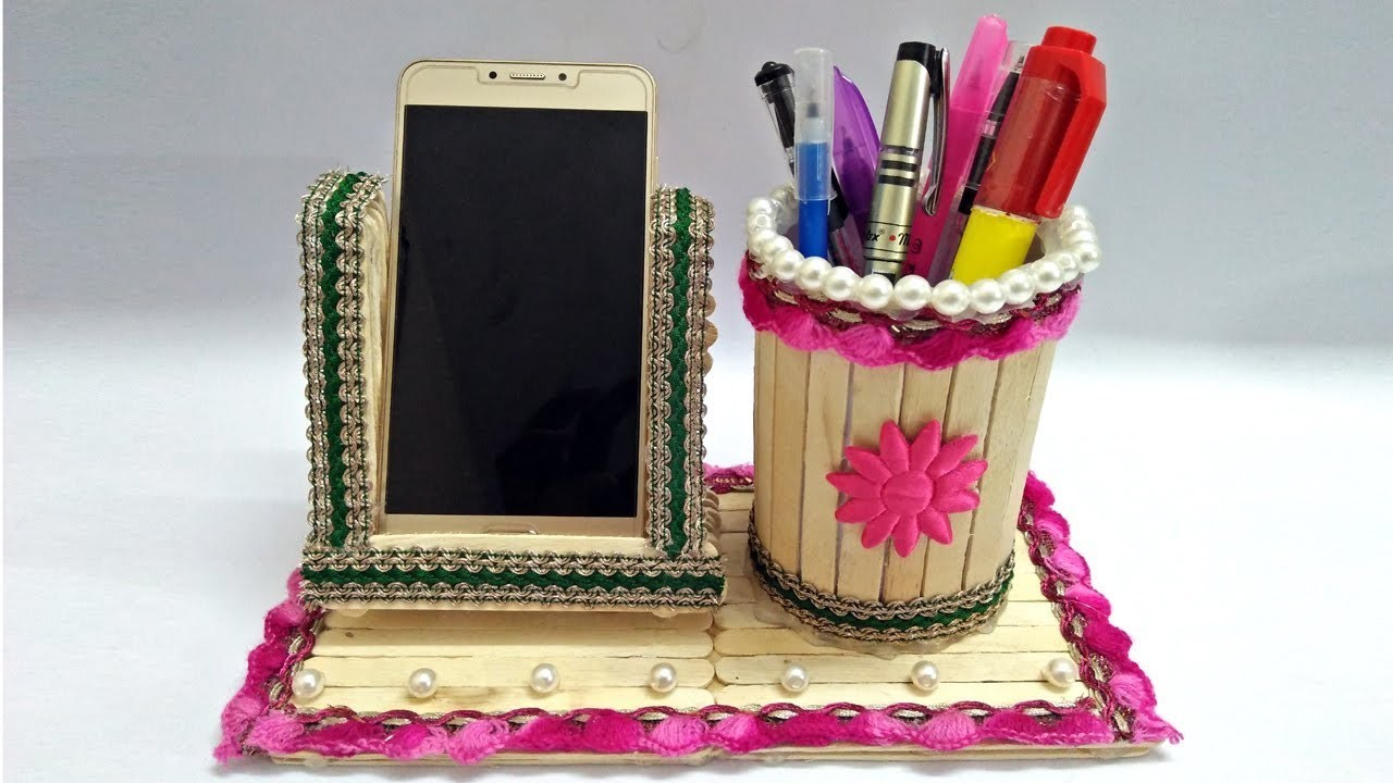 Diy How To Make Pen Stand And Mobile Holder With Ice Cream
