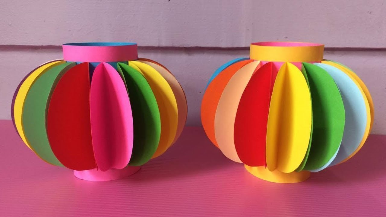 How To Make Lantern With Color Paper Diy Fancy Paper