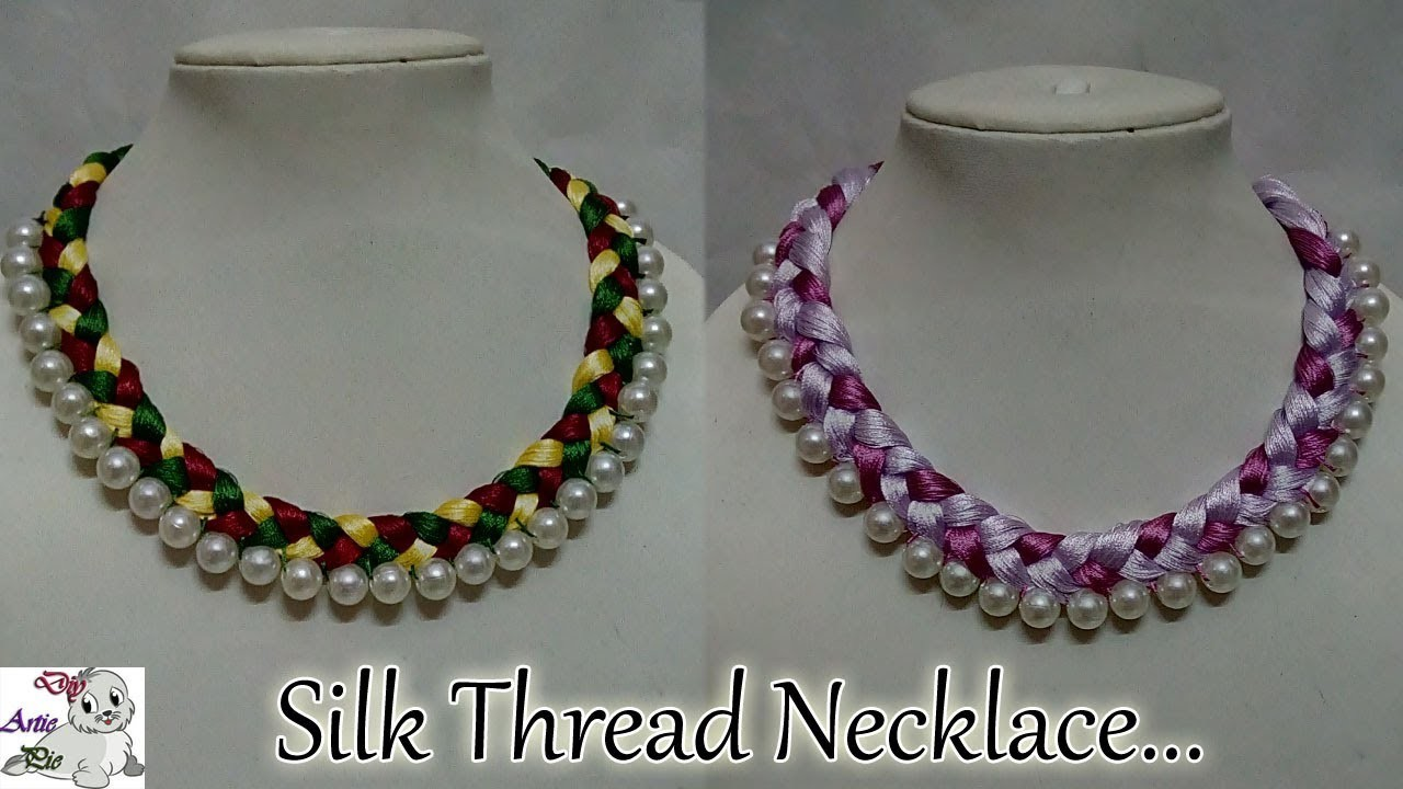 82 How To Make Pearl Beaded Silk Thread Necklace Diy