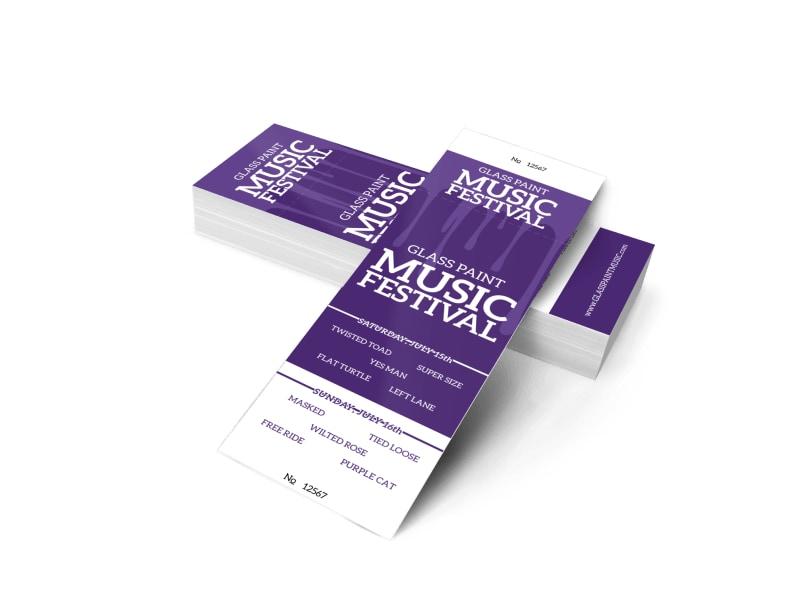 Glass Paint Music Festival Ticket Template MyCreativeShop
