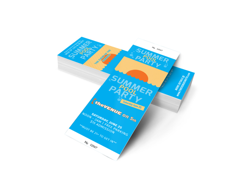 Summer Pool Party Ticket Template MyCreativeShop - party ticket template