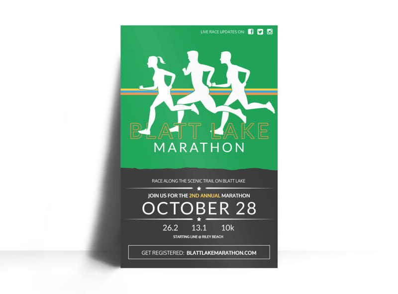 Blatt Lake Marathon Poster Template MyCreativeShop - poster on line