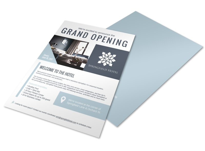 Downtown Hotel Grand Opening Flyer Template MyCreativeShop - Grand Opening Flyer