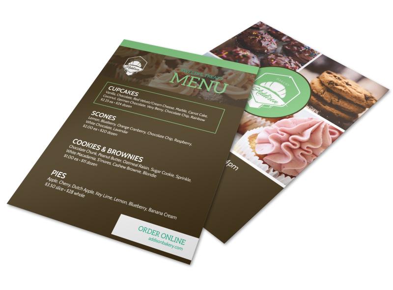 Sweets  Treats Bakery Menu Flyer Template MyCreativeShop