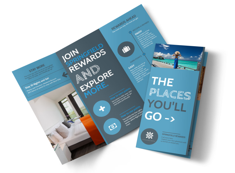 Hotel Rewards Program Tri-Fold Brochure Template MyCreativeShop - hotel brochure template
