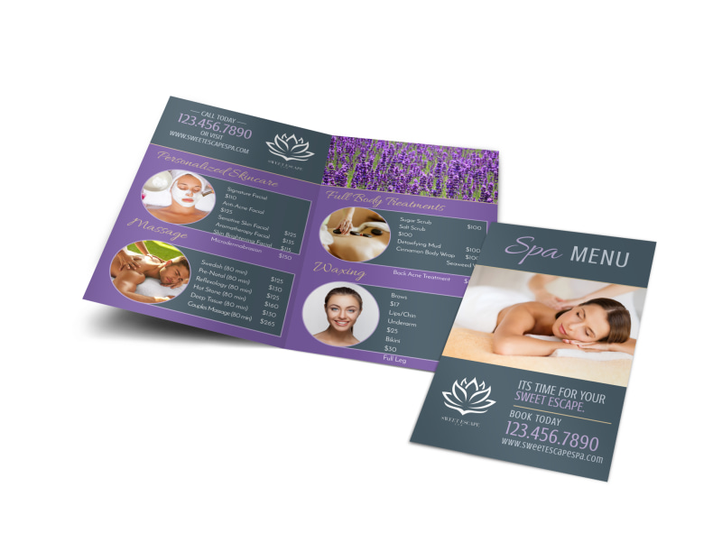 Spa Menu Bi-Fold Brochure Template MyCreativeShop