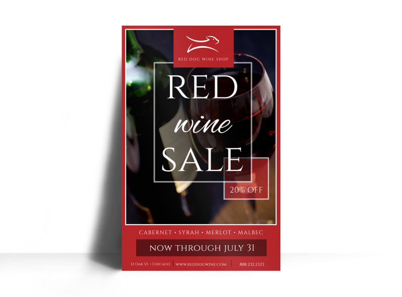 Red Wine Sale Poster Template MyCreativeShop