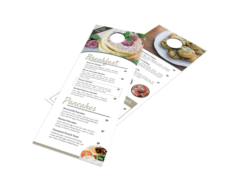 Hotel Breakfast Menu Door Hanger Template MyCreativeShop - door hanger design template