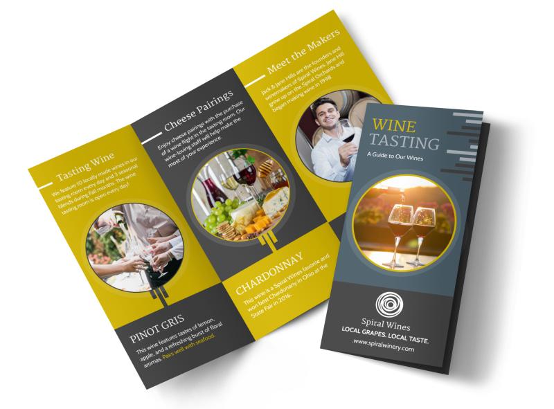 Wine Tasting Tri-Fold Brochure Template MyCreativeShop