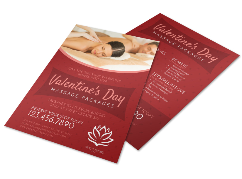 Valentine\u0027s Day Massage Packages Flyer Template MyCreativeShop