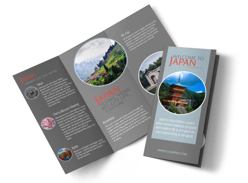 Japan Travel Tri-Fold Brochure Template MyCreativeShop