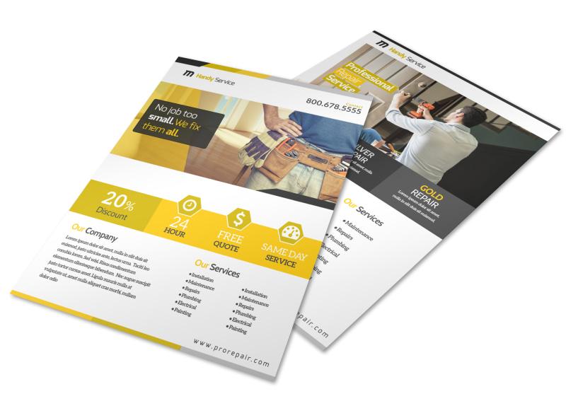 Professional Handyman Advertising Flyer Template MyCreativeShop