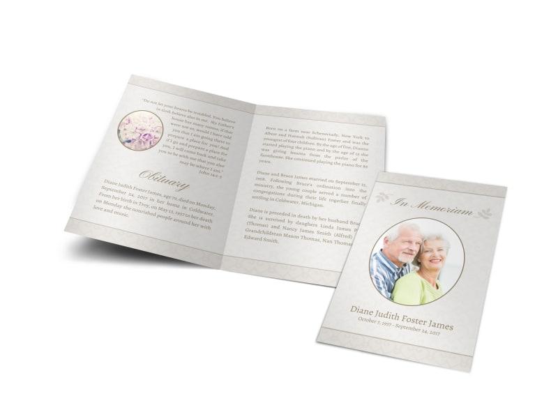 Memorial Service Funeral Program Bi-Fold Brochure Template