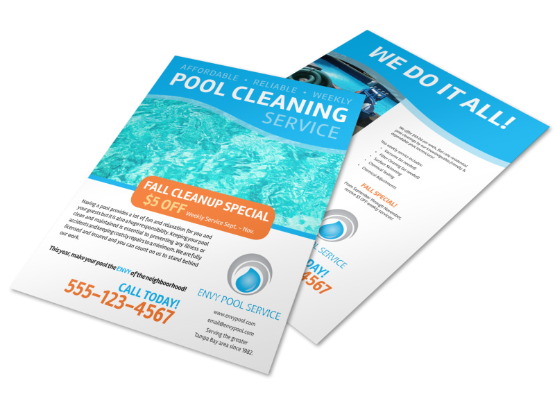Pool Cleaning Fall Cleanup Flyer Template MyCreativeShop