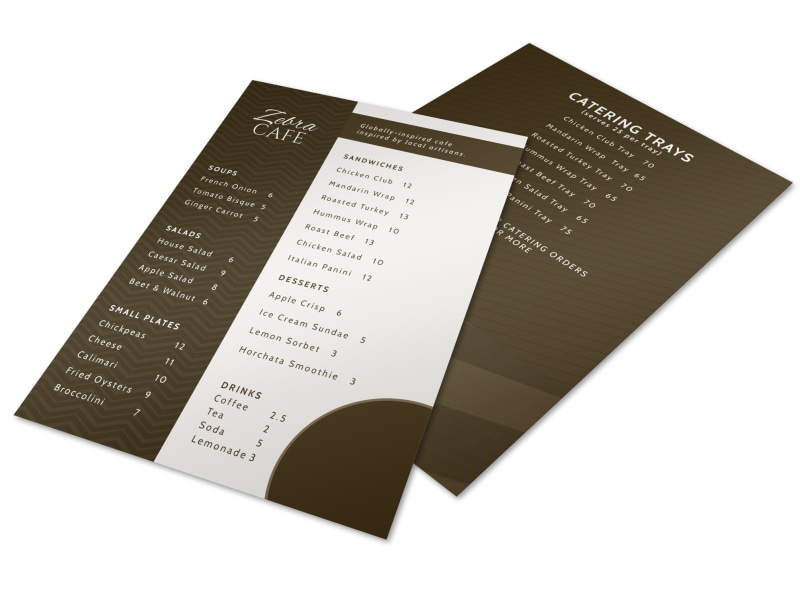 Zebra Cafe Menu Template MyCreativeShop - Cafe Menu Template