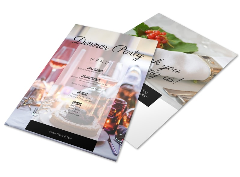 Afternoon Dinner Party Menu Template MyCreativeShop