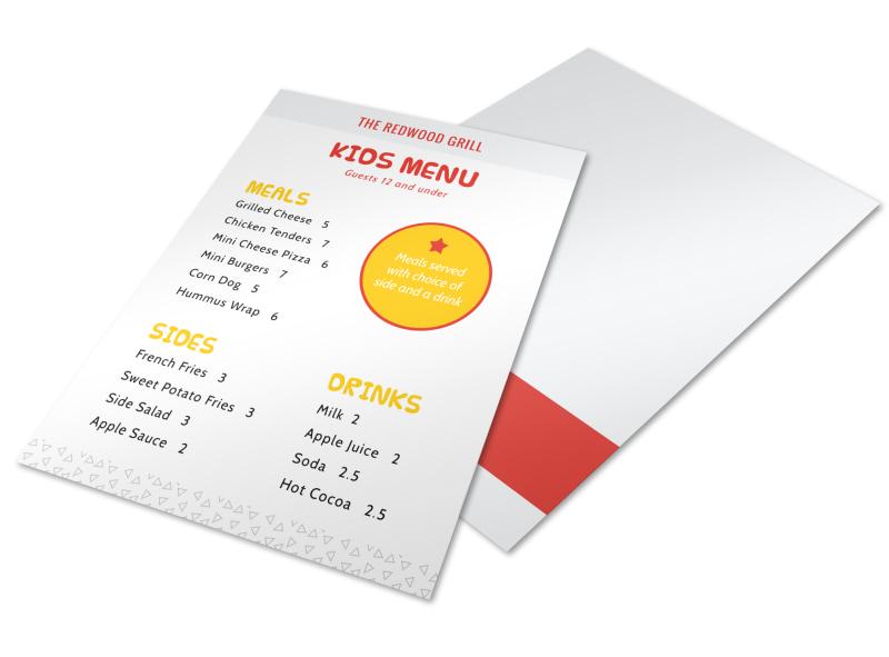 Kids Menu Template MyCreativeShop - kids menu templates
