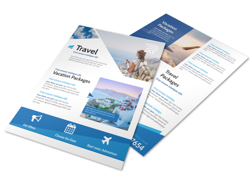 Blue Vacation Packages Flyer Template MyCreativeShop