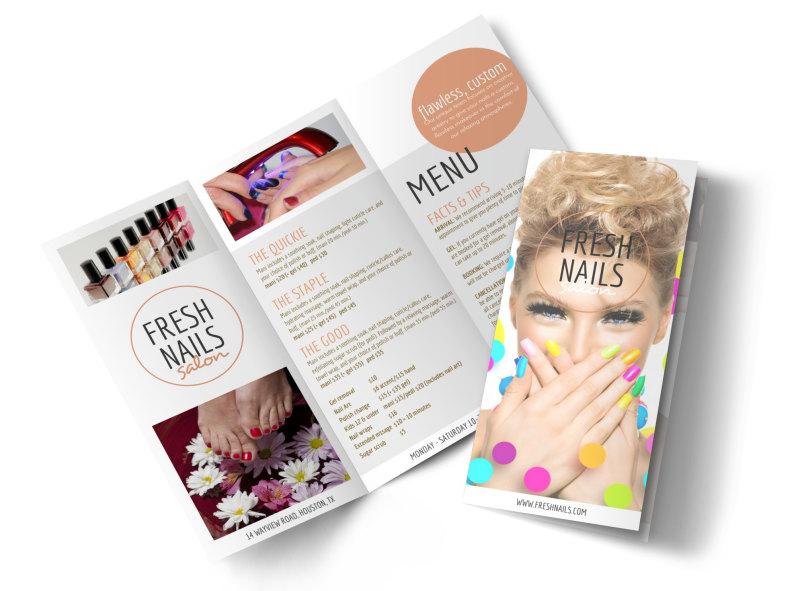 Fresh Nail Salon Price List Tri-Fold Brochure Template MyCreativeShop