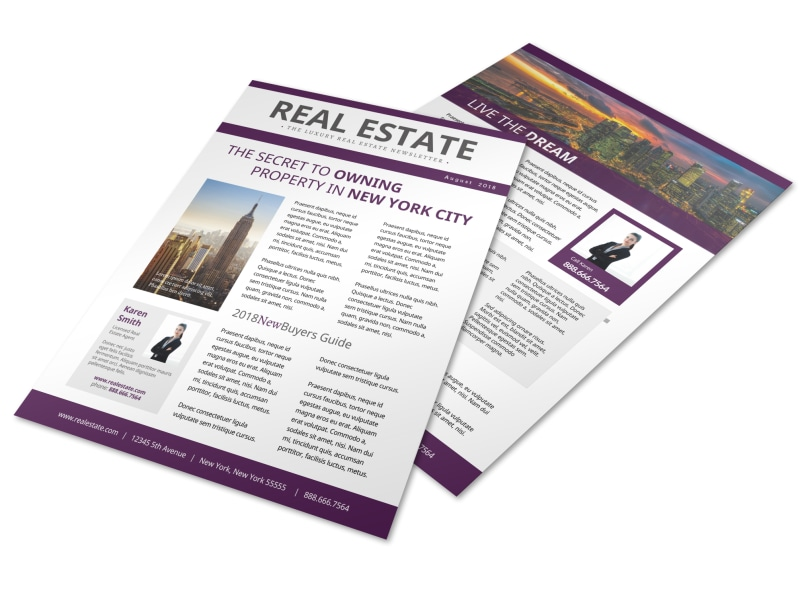 Stunning Real Estate Newsletter Template MyCreativeShop