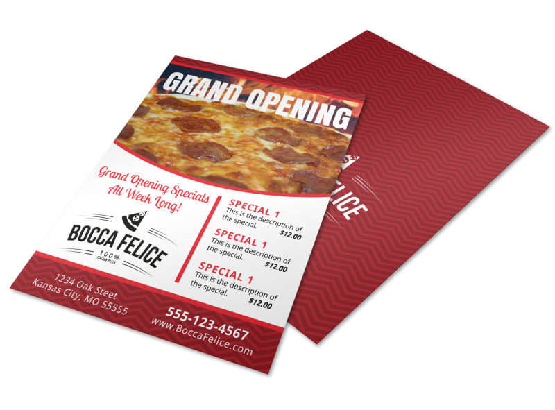 Pizza Restaurant Grand Opening Flyer Template MyCreativeShop - Grand Opening Flyer