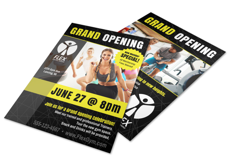 Fitness Gym Grand Opening Flyer Template MyCreativeShop - Grand Opening Flyer