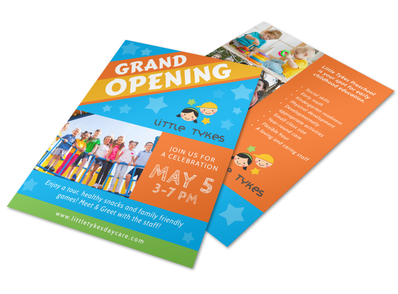 Awesome Daycare Grand Opening Flyer Template MyCreativeShop