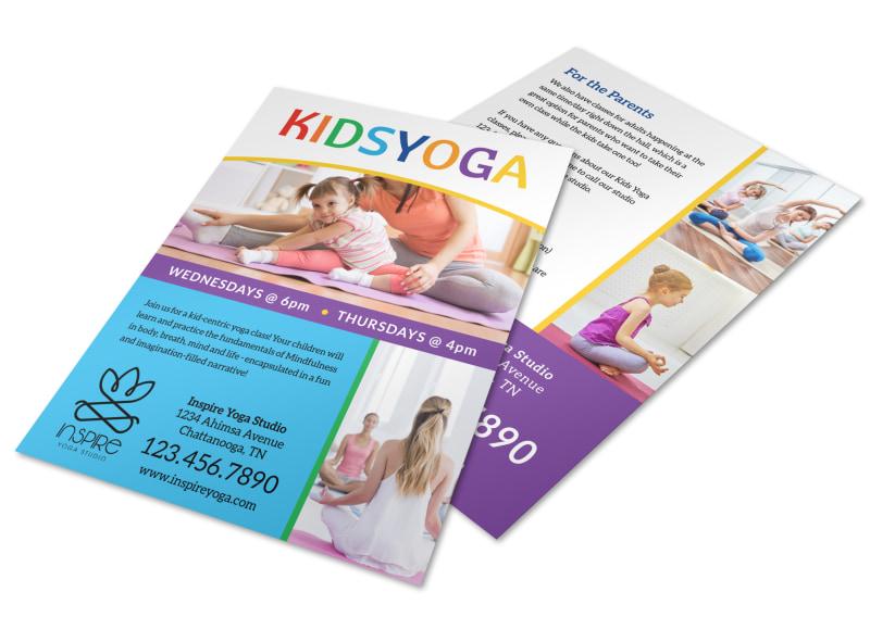 Fun Kids Yoga Flyer Template MyCreativeShop