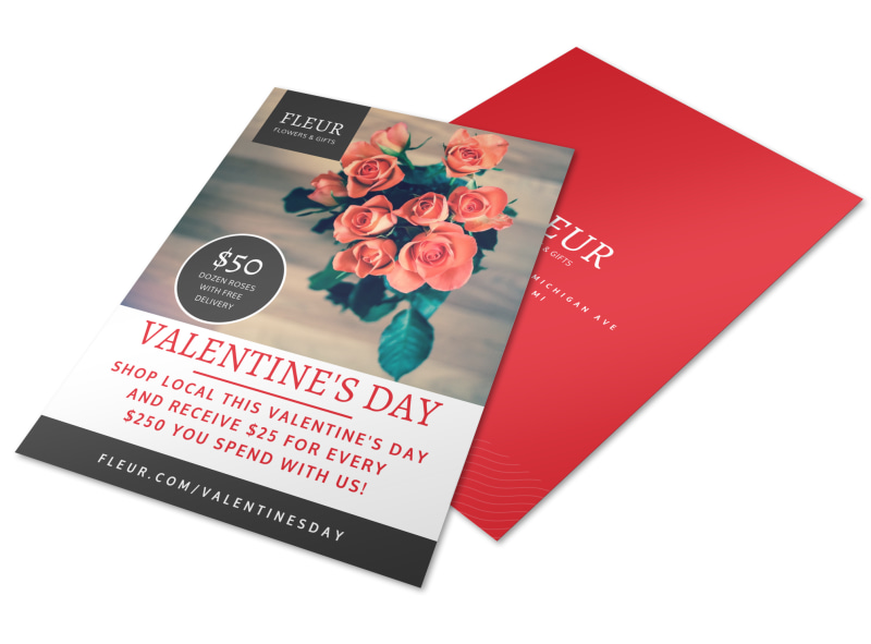 Floral Valentine\u0027s Day Flyer Template MyCreativeShop