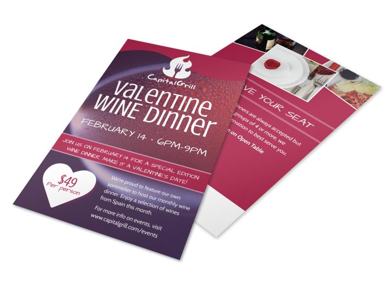 Valentine\u0027s Wine Dinner Flyer Template MyCreativeShop