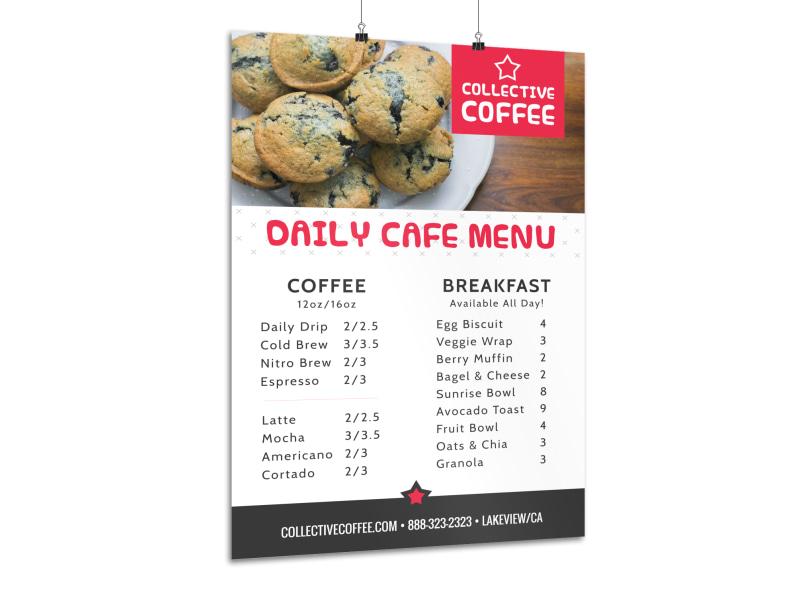 Coffee Daily Menu Poster Template MyCreativeShop - 5 day menu template
