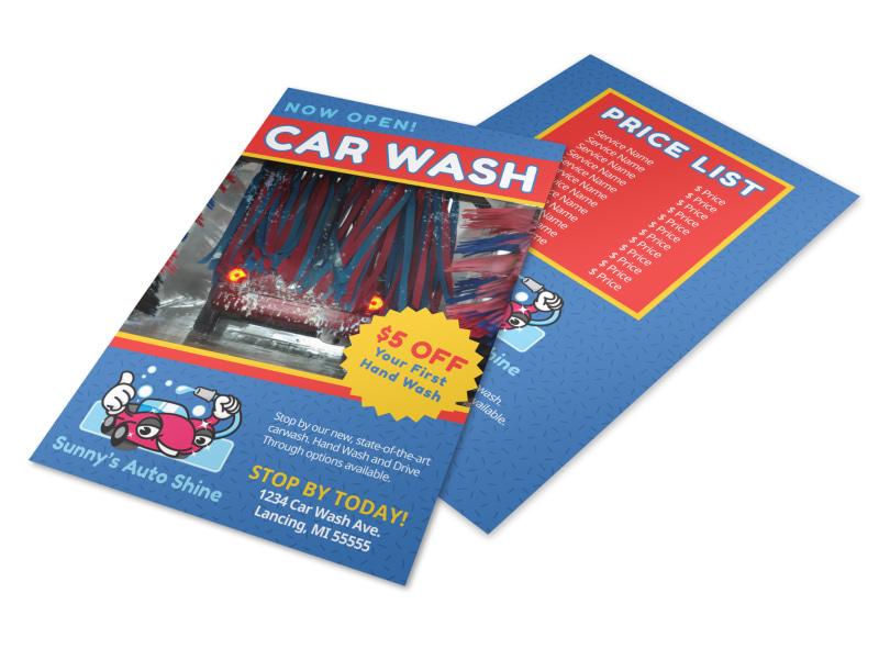 Blue Car Wash Flyer Template MyCreativeShop - car wash flyer template