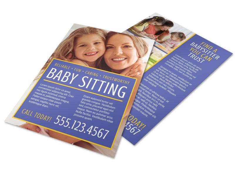 Reliable Babysitting Flyer Template MyCreativeShop
