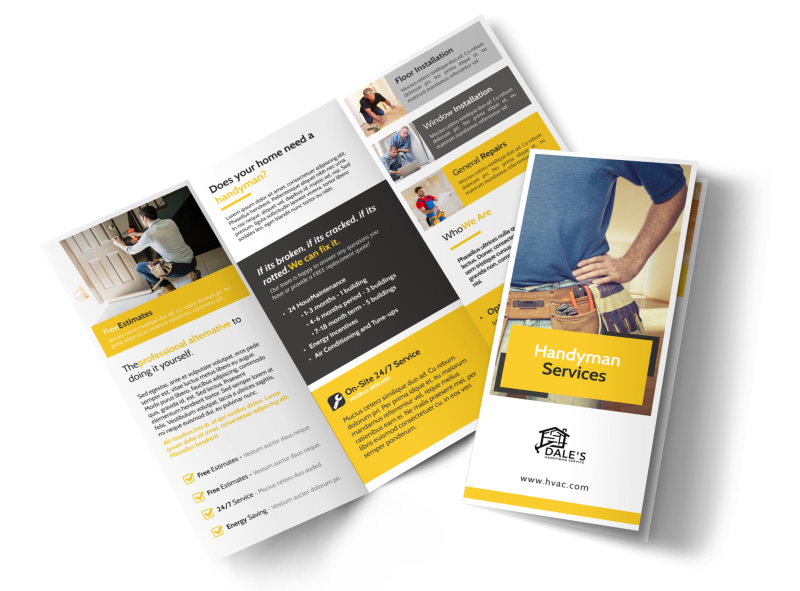 Yellow Handyman Tri-Fold Brochure Template MyCreativeShop