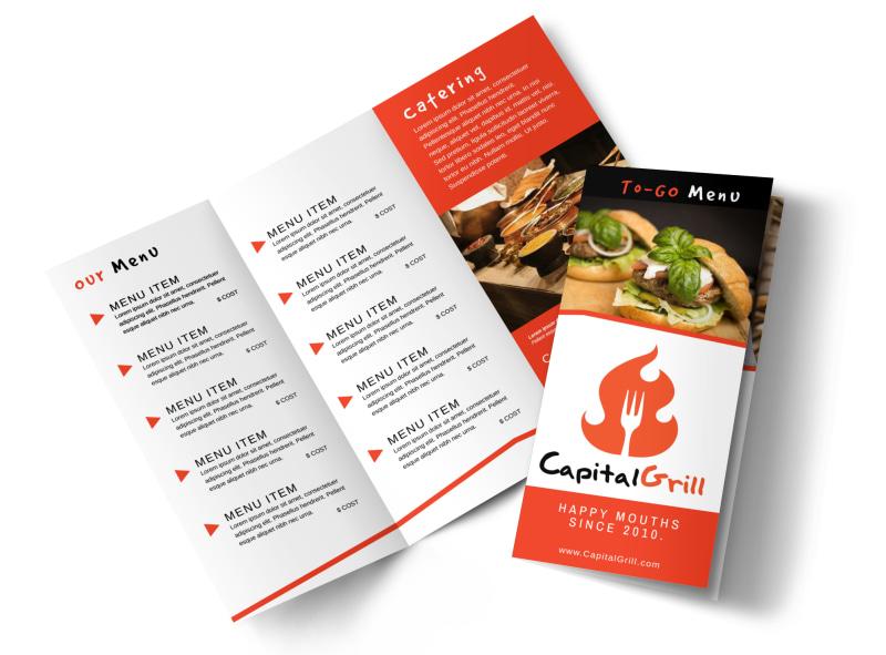 Restaurant To-Go Menu Tri-Fold Brochure Template MyCreativeShop