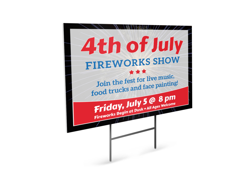 4th Of July Fireworks Show Yard Sign Template MyCreativeShop - 4th of july template