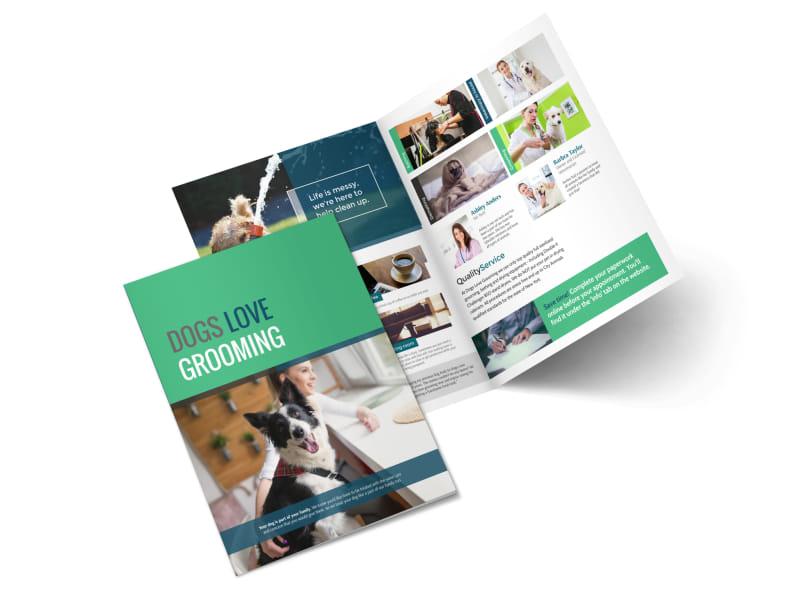 Clean Dog Grooming Bi-Fold Brochure Template MyCreativeShop