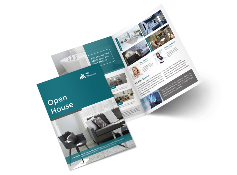 Teal Open House Bi-Fold Brochure Template MyCreativeShop