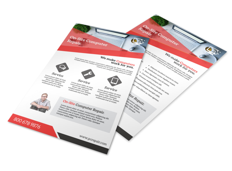 Red Computer Repair Flyer Template MyCreativeShop - computer repair flyer template