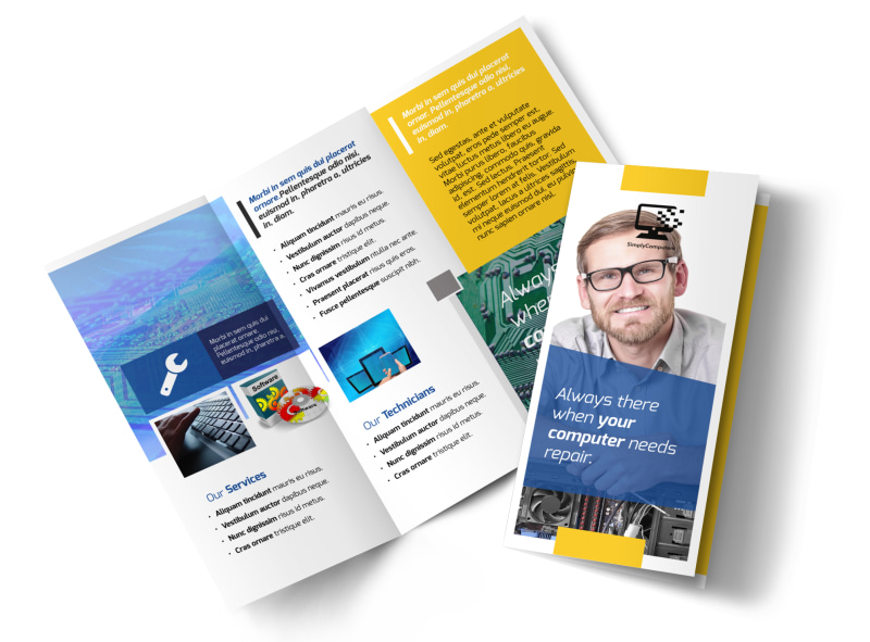 Classic Computer Repair Tri-Fold Brochure Template MyCreativeShop
