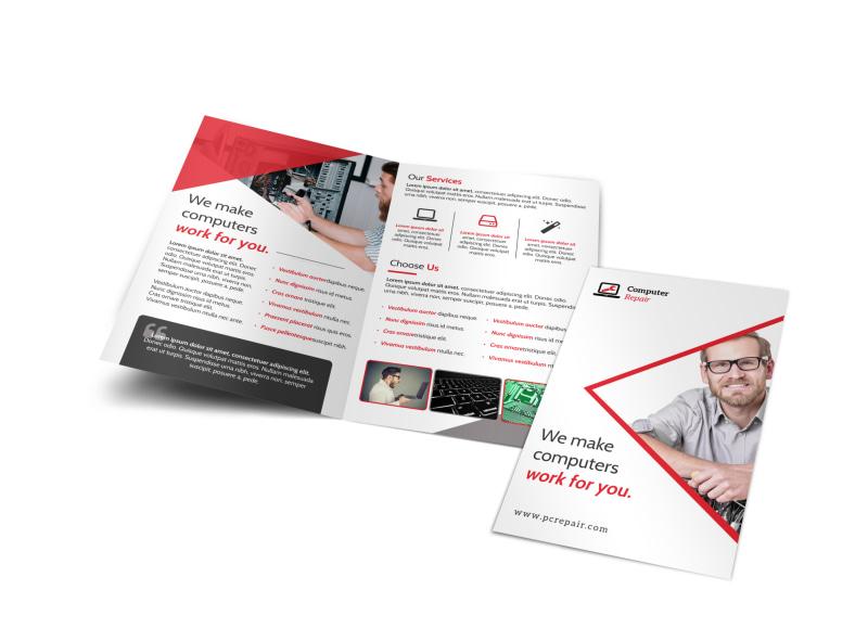 Red Computer Repair Bi-Fold Brochure Template MyCreativeShop