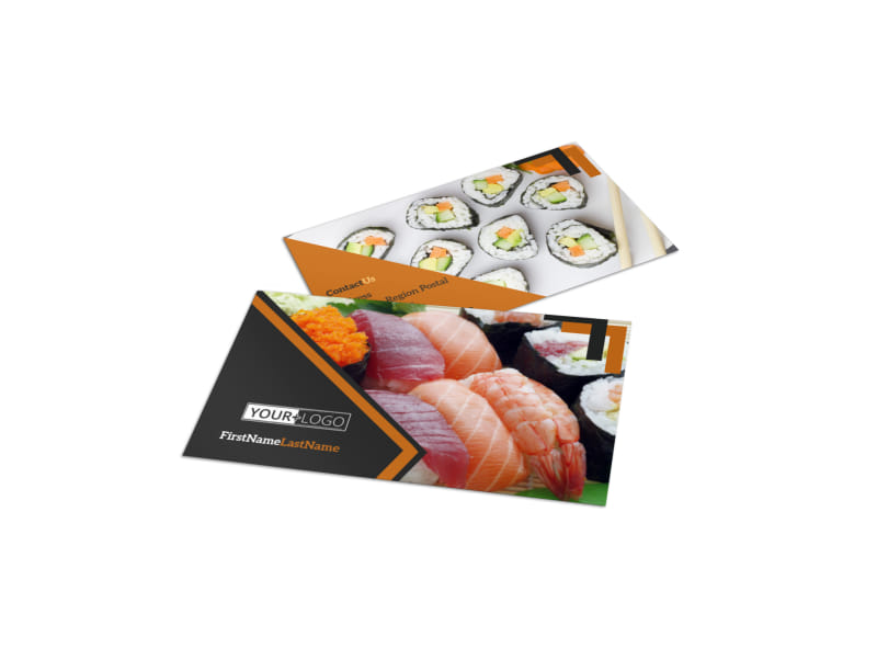 Outstanding Sushi Restaurant Business Card Template MyCreativeShop