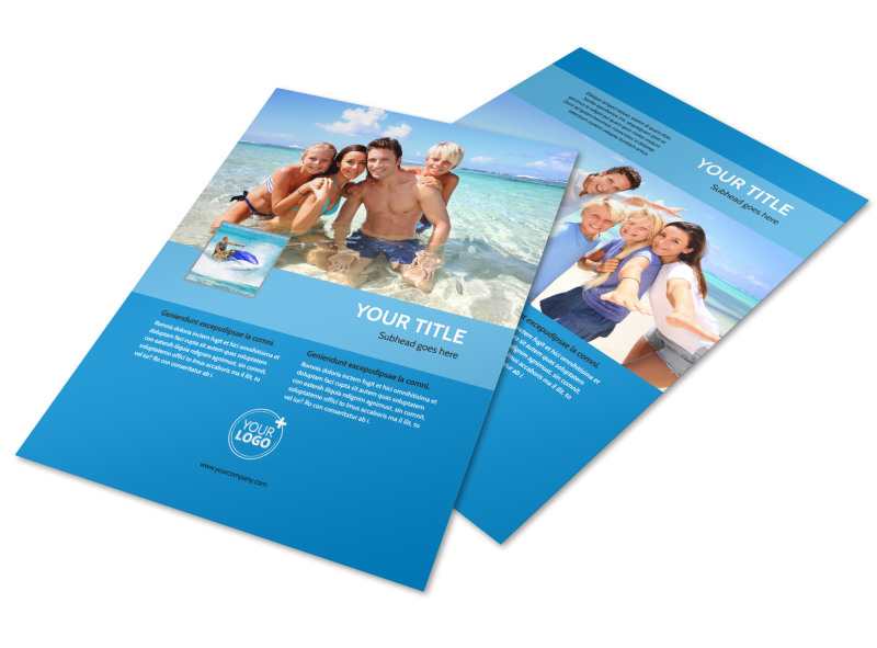 Family Beach Resort Flyer Template MyCreativeShop
